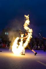 Playing with Fire! (mouseart005) Tags: flameoz buskers waterloobuskercarnival streetperformer streetart fire flames playingwithfire pyrotechnics burning nightcircus juggling