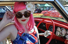 Kat (sccart) Tags: pretty girl pink hair looking over sunglasses red 1954 studebaker commander