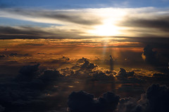 Bright Sky (kat-taka) Tags: sky bright sun clound flight sunshine shadow orange red