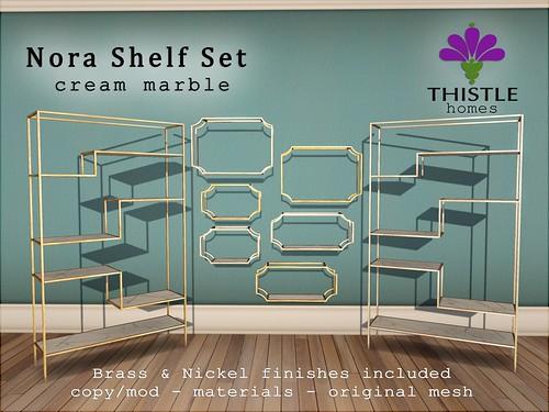 Thistle Nora Shelf Set - Cream marble