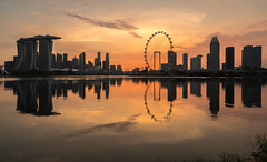 Singapore city skyline from gardens by the bay east (Philipp Salveter) Tags: asia singapore city skyline citylights sunset bluehour goldenhour marina bay sands mbs wheel reflection