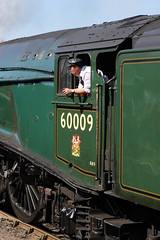 Driver Goodman (gooey_lewy) Tags: steam green nene valley railway loco locomotive train engine blue sky skies nvr pacific 462 event gala 60009 union south africa lner london north eastern a4 gresley john cameron wansford br british people railroad car photo streamlined streak work stained driver olly goodman oli oliver
