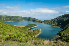 Lagoa do Fogo (Lagoon of Fire) - Azores Islands (Luca Quadrio) Tags: view fogo crater landscape peaceful nature water volcano azores outdoor lake hill saomiguel portugal volcanic tourist blue atlantic panoramic beautiful travel cloud tourism island sky summer scenery europe lagoadofogo mountain