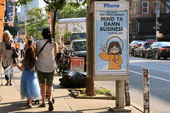 abe lincoln jr (Luna Park) Tags: ny nyc newyork manhattan adtakeover streetart abelincolnjr payphone phone booth lunapark subvertising jesuswasntadick commandment mindyaownbusiness mindyadamnbusiness