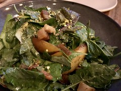 Salad with grilled nectarines, lardons, chanterelles, pistachios (TomChatt) Tags: food lafoodie