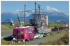 Homes Come in Various Forms Here - Homer, Alaska (TravelsWithDan) Tags: boat trailer bus painting mural mountain home clouds outdoors landscape homer alaska homeralaska dwelling candid canong3x