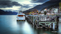 queenstown 2018 (paradigmblue) Tags: newzealand queenstown pier water mountains sunset boat nz lakewakatipu lake dusk otago