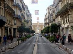 montpellier_086 (OurTravelPics.com) Tags: montpellier the rue foch street with porte du peyrou arch