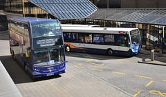 Excel arrives (Travis Pictures) Tags: bus buses busstation queensgate queensgatebusstation peterborough stagecoach stagecoacheast transport publictransport alexanderdennis summer outdoors outside road doubledecker first excel easterncounties alx