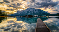 Minnewanka sunrise (Sean X. Liu) Tags: lake minnewanka banffnationalpark banff alberta canada sunrise morning goldenhour reflection leadinglines symmetry