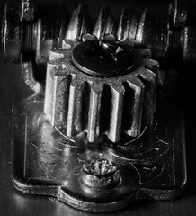 Ukulele (Antti Tassberg) Tags: instrument macro macromondays ukulele bw tuner cogwheel texture 100mm blackandwhite lens monochrome prime