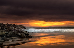 Newport Beach (meeyak) Tags: newportbeach orangecounty oc usa california beach ocean waves water rocks sunset moody dark clouds cloudy storm reflection mikemarshall nikon d800 1635mm lens mefoto tripod travel vacation outdoors adventure 56thstreet