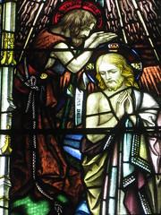 Detail of the St. John the Baptist and Jesus Stained Glass Window; St Mark the Evangelist Church of England - George Street, Fitzroy (raaen99) Tags: brooksrobinsonandcompany brooksrobinsoncompany brooksrobinsonstainedglass brooksrobinsoncompanystainedglass brooksrobinsonandcompanystainedglass stainedglass 20thcenturystainedglass twentiethcenturystainedglass leadlight leadlightglass 1920s 20s johnthebaptist holyspirit jesusandjohnthebaptist baptism riverjordan jesus malesaint saint bible biblical allegorical allegory symbol symbolism gospel bookofluke bookofgospels iris water baptize stmarktheevangelist stmarks stmarksfitzroy stmarksanglican churchofengland anglicanchurch anglican fitzroychurch fitzroy georgest georgestreet church placeofworship religion religiousbuilding religious melbourne melbournearchitecture victoria australia gothicarchitecture gothicrevivalarchitecture gothicrevivalchurch gothicchurch gothicbuilding gothicrevivalbuilding gothicstyle gothicrevivalstyle architecture building window stainedglasswindow gothic gothicdetail lancet lancetwindow