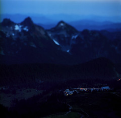Twilight over Paradise (Zeb Andrews) Tags: kodakektar hasselbladflexbody mtrainiernationalpark paradise blue twilight tiltshift washington pacificnorthwest scannedatbluemooncamera nikoncoolscan9000