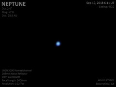 Neptune 9-9-18 (aaronncollier) Tags: neptune planet ice giant blue zwo asi290mm opposition 8th lrgb solar system