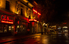 Market Square rainy night (vanessa_macdonald) Tags: vancouverisland vanisle britishcolumbia bc nightphotography nightscape night life reflections glow warm lights streetscape cityscape city urban victoria victoriabc tourism travel town sidewalk