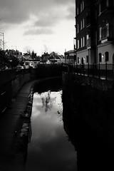 Calm. (ianmiller6771) Tags: blackandwhite whiteblack bw monochrome streetphotographyuk ukstreetphotography worcesteruk canal urbancanal water reflections fujixe2 calm peaceful