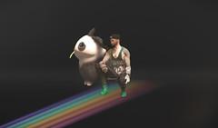 Waduhek? (Pizza Dan) Tags: portrait secondlife second life panda bunny tank top tanktop backdrop back drop waduhek wtf lol lul rofl rainbow rain bow double doublerainbow