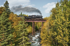 minnesota north shore scenic railroad - train, locomotive (Dan Anderson.) Tags: minnesotanorthshore minnesota mn northshore scenic railroad train locomotive steamengine trestle bridge lakesuperior trees water river creek smoke