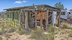 Little Green Shack (magnetic_red) Tags: cabin wood wooden abandoned decay green grass desert sky blue trailer mojavenationalpreserve