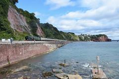Torbay Express (Teignstu) Tags: teignmouth devon seawall railway 35028 clanline thetorbayexpress sea rocks clouds steam locomotive