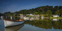 Summer Reflections (suerowlands2013) Tags: lerryn riverfowey cornwall tidalcreek kennethgrahame thewindinthewillows boats cottages reflections river summer sunshine tranquility peace trees bluesky morning village