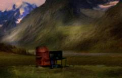 From Iceland. (Tóta. 27.12.1964.) Tags: landscape natureiceland mountain grass snow chair tv iceland ísland