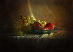 Autumn Delights ... (MargoLuc) Tags: fruits autumn grapes pear peach stilllife natural light table window soft texture