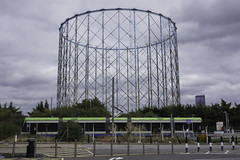 Out of Gas (McTumshie) Tags: 20180827 croydon tfltrams transportforlondon waddonmarsh gasholder gasometer tram transport