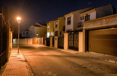 Spanish Suburban Street (henriksundholm.com) Tags: city urban suburb street shadows architecture garage gates houses homes night cenesdelavega lamp light hdr granada espana spain andalusia andalucia