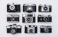 Black and white cameras classic - Credit to https://homegets.com/ (davidstewartgets) Tags: black white cameras classic closeup collection equipment focus lens photographic photography technology