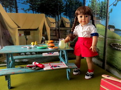 Lunch preparations (Foxy Belle) Tags: molly american girl doll historic character camp diorama scenes settings braids uniform summer food lunch picnic table cardboard craft ooak ag 18 inch wwii 14 scale
