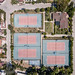 Five tennis courts in Fethiye, Turkey. Bird's eye view