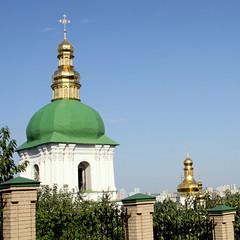 Kiev, orthodox church (oriana.italy) Tags: kiev ukraine orthodoxchurch greenandgoldendome img0154 icons saints belltower