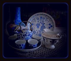 "Blue (""DavidJHiom"") Tags: japanese kettle tea coalport beswick porcelain china ornaments blue stilllife shelley plate jug pot teaset"