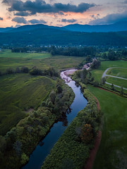 Snaking (VermontScapes) Tags: stowe vt vermont westbranchriver littleriver water hills mountains sunrise pretty green meadows pastures magenta dji mavicpro aerial drone