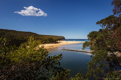 Wattamolla Beach (monkcushla1) Tags: sydney nsw australia national park landscape ocean sea trees sand beach clouds sky beautiful blue headland horizon coastline