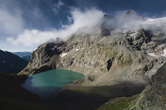 Lac de l'Eychauda (Michel Couprie) Tags: europe france alpes alps hautesalpes montagne mountain lake lac glacier clouds nuages landscape morning shadows water grangettes eychauda snow ice canon eos tse24mmf35l couprie composition wideangle grandangle stitching
