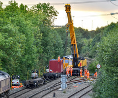 Rather him than me at Whitacre Junction (robmcrorie) Tags: whitacre junction derailment accident 2018 intermodal container dirt recovery delay warwickshire train rail railway 66002 66751 railfan enthusiast nikon d850