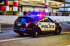 Port of Seattle Police (trident2963) Tags: port seattle portofseattle police law enforcement washington state lightbar lights red blue ford explorer new generation black white traffic vehicle seatac airport dusk nightshot