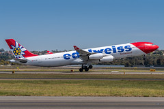 HB-JMG Edelweiss Air Airbus A340-313 34L Sydney Airport SYD/YSSY 19/9/2018 (TonyJ86) Tags: hbjmg edelweiss edelweissair edelweissswitzerland wkedw airbus a340 a343 a340300 a340313 widebody quadjet aircraft aviation airliner airplane aeroplane plane passenger jet jetliner jetaircraft jetplane passengerplane passengerjet international departure takeoff rotate flight fly airport syd yssy sydneyairport sydneykingsfordsmith sydney nsw newsouthwales australia planespotting avporn aviationporn avgeek travel nikon d750 nikond750 vehicle outdoor aviationphotography tamronsp150600mmf563divcusdg2 tamron