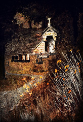 Mausoleum (Terry Pellmar) Tags: texture digitalart digitalpainting cemetery night mausoleum path trees flowers