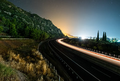 Highway (free3yourmind) Tags: highway car passing fast light night sky stars peloponnese greece greek mountains transportation system olympia odos