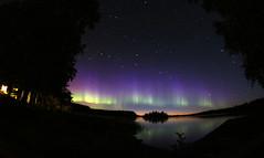 Auroras over the lake (Themee89) Tags: eos600d samyang8mmasphericalfisheye nightsky night stars auroraborealis auroras lake finland summer northernlights