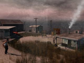 Landscape with Escaped Red Umbrella