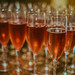 Glass of pink rose champagne