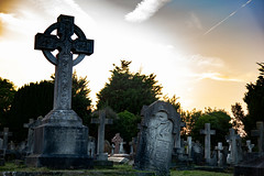 Graveyard 3 (RevCheck Photography) Tags: graveyard headstone stone concrete old ancient spooky dusk sunset evening outside outdoor tree trees plant grass sky cross religion colour green grey blue dark contrast highlight shadow canon eos 6d ef24105mmf4lisusm ef24105mm f4l is usm