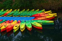 Canoes France_3570 (ichauvel) Tags: canoes canoeskayak couleurs colours multicolore ranger reflets reflections basenautique exterieur outside soir evening été summer loisir roquebrunesurargens rivière river var provencealpescôtedazur france europe westerneuropeberge riverbank getty