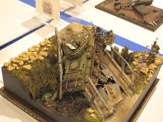 Diorama pont avec char sovietique - 1/35