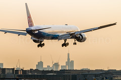 China Airlines Special Livery (kiartz) Tags: 777 airport landscape tail airplane airlines germany city gear panorama china dusk b777 passengers frankfurt german fly seven aviation final building liners boeing aircraft landing skycrapers runway triple
